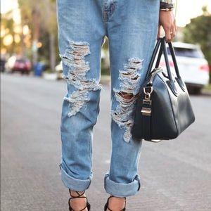 Levi's 513 Light-wash Destroyed Boyfriend Jeans